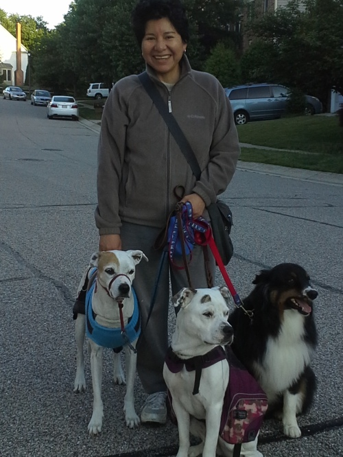 Alex, Bella, and Walter (L to R).  The smiling human is your truly, Marcela